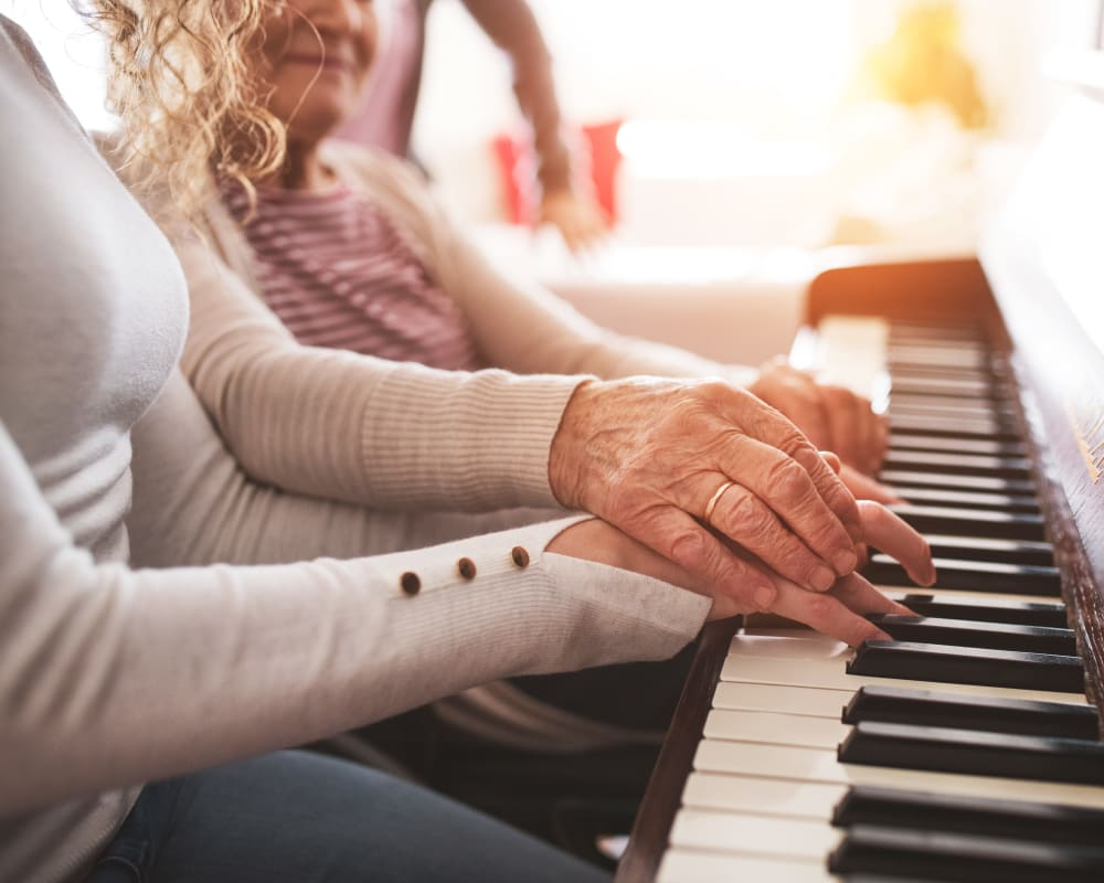 Residents participate in music workshops at Arlington Place of Red Oak in Red Oak, Iowa.