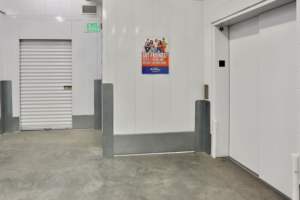 elevator at A-1 Self Storage in San Diego, California