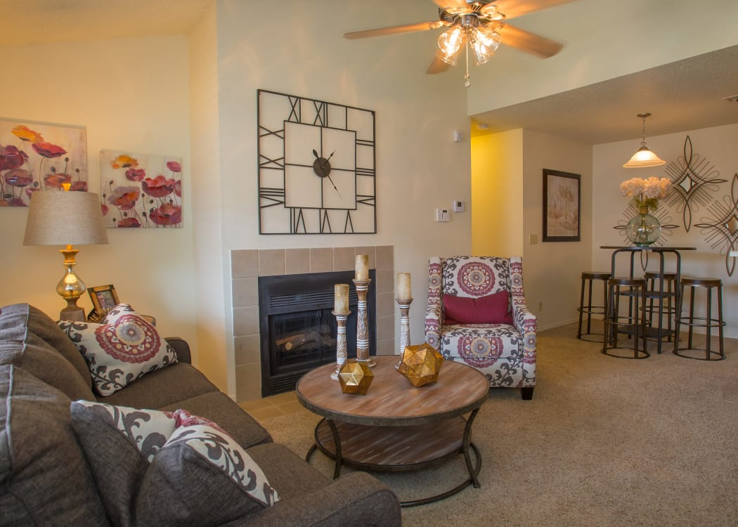 Spacious Living Area with Fireplace in model home at Chardonnay in Tulsa, Oklahoma