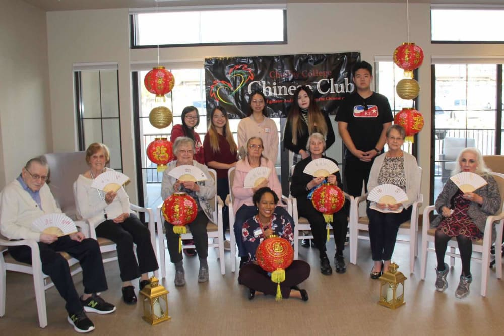 Residents celebrating Chinese New Year at Merrill Gardens at Rancho Cucamonga in Rancho Cucamonga, California