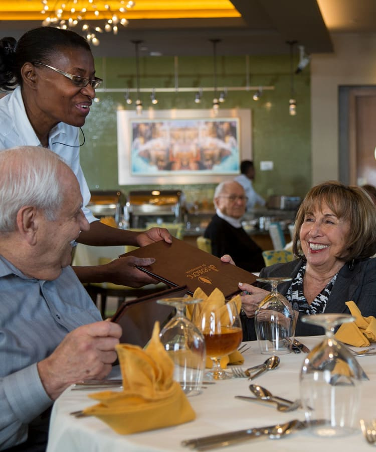 Residents completing their dinner order in one of our restaurant-style dining rooms at All Seasons Ann Arbor in Ann Arbor, Michigan