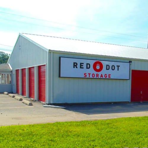 Outdoor storage units at Red Dot Storage in Vicksburg, Mississippi