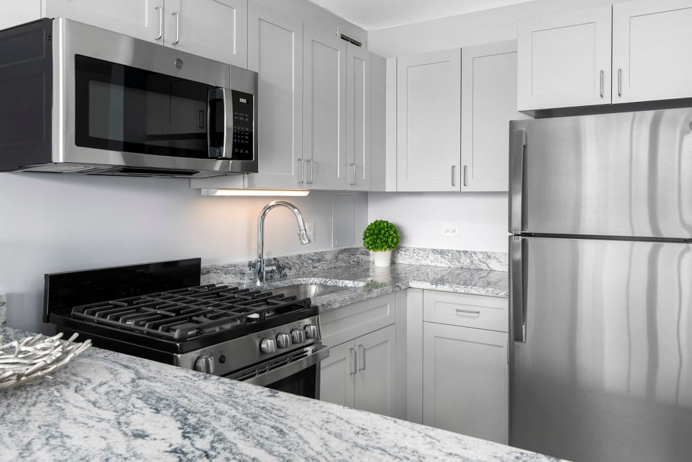 Kitchen with Modern Appliances at Prairie Shores in Chicago, IL