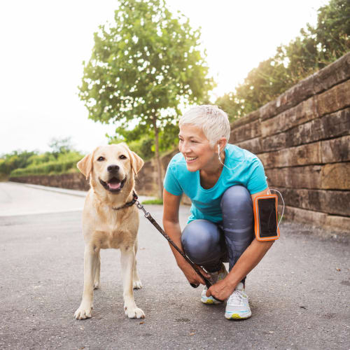 Happy dog and her owner about to go for a jog near Olympus Waterford in Keller, Texas