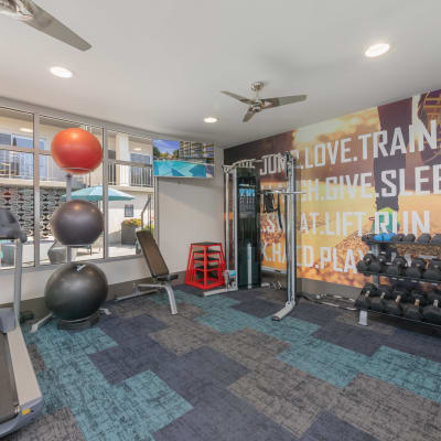 Onsite fitness center at Mia in Palo Alto, California