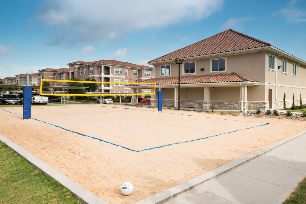 Sand volleyball court at Estancia at Ridgeview Ranch in Plano, Texas