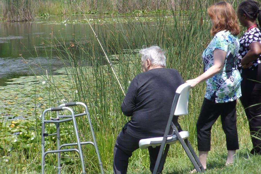 senior residents fishing