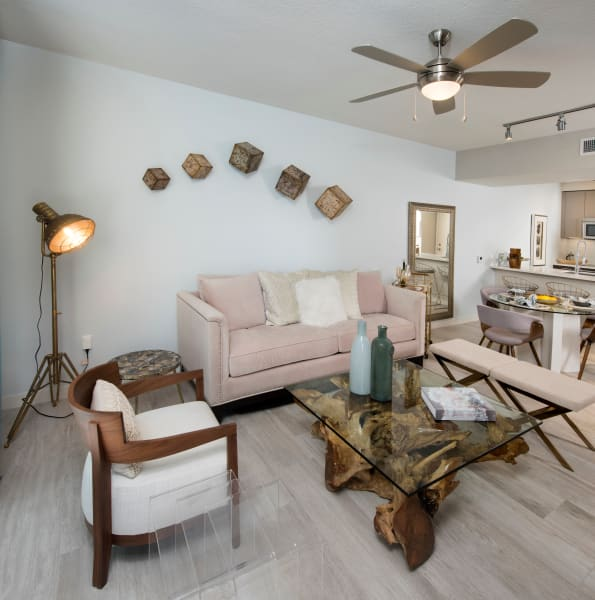 Bright, well decorated living room at The Flats in Doral, Florida