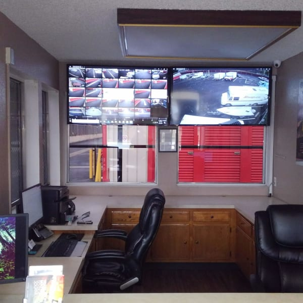 Security monitoring area at StorQuest Self Storage in Bakersfield, California