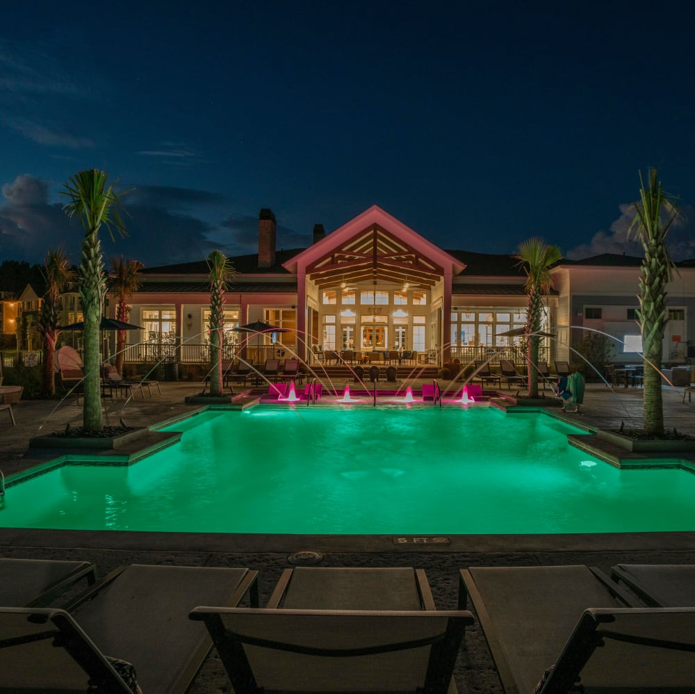 Swimming pool at dusk at Elevate at Brighton Park in Summerville, South Carolina