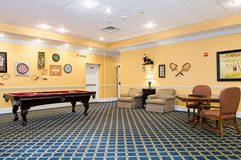 Pool tables at Grand Villa of Melbourne in Florida