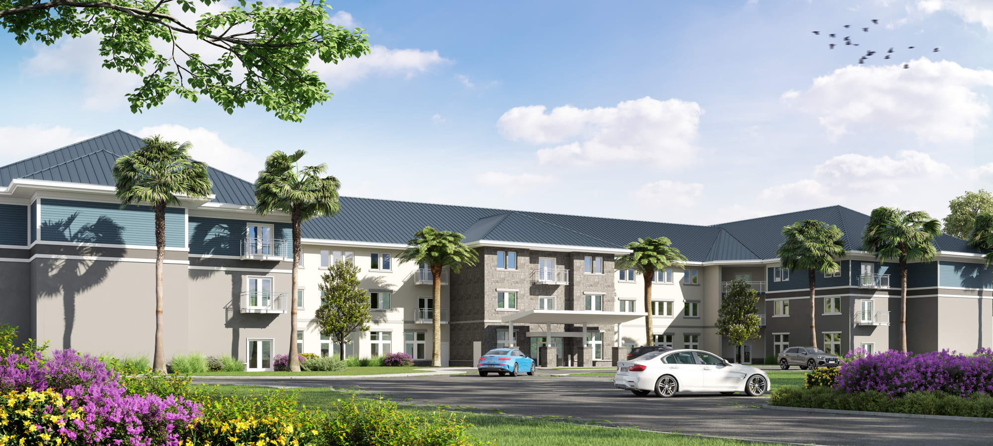 Exterior artist's rendering of The Landings at Gentry Park , Independent Living