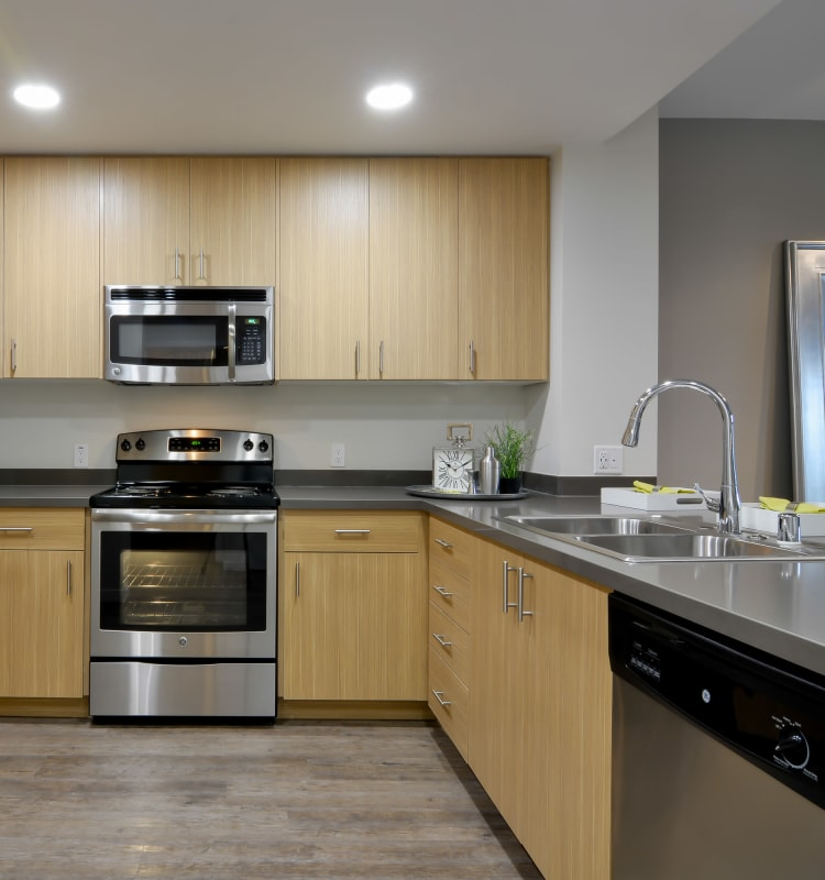 Kitchen with plenty of cabinetry and counter top space at Domus on the Boulevard in Mountain View, California