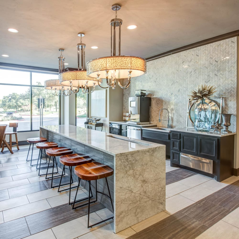 Modern gourmet demonstration kitchen in the resident clubhouse at Beck at Wells Branch in Austin, Texas