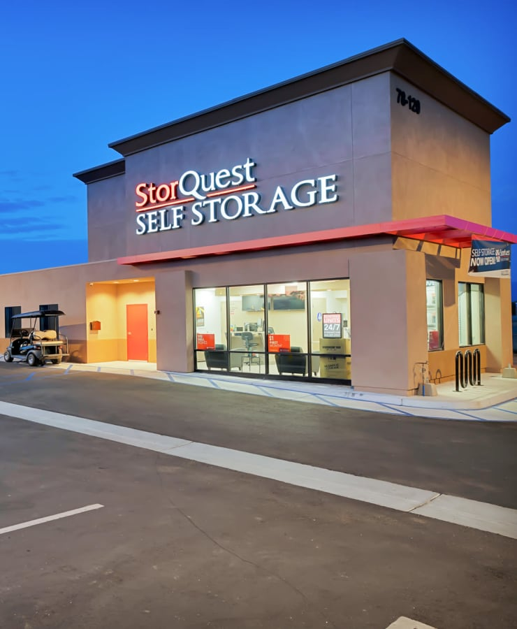 The exterior of the main entrance at StorQuest Self Storage in Reno, Nevada