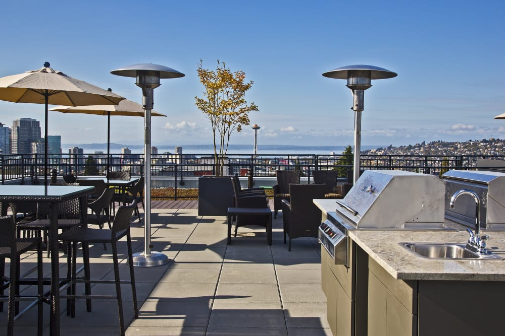 Outdoor rooftop lounge at The Lyric in Seattle, Washington
