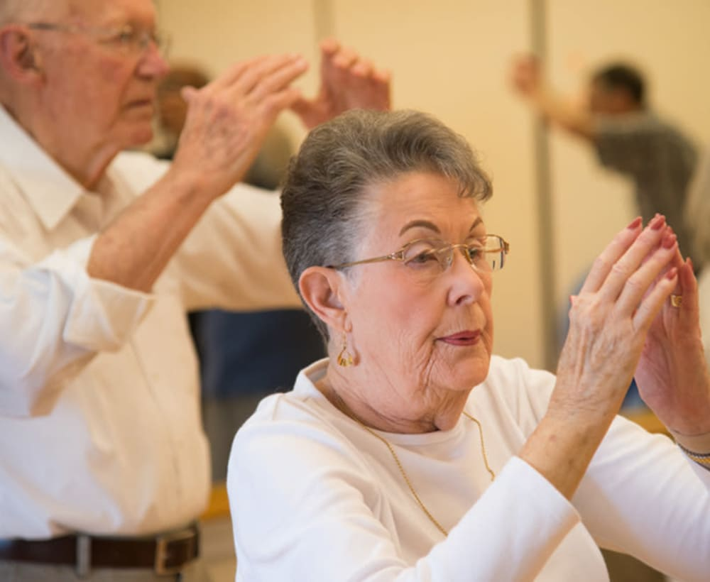 Residents exercising at Touchmark at Fairway Village in Vancouver, Washington