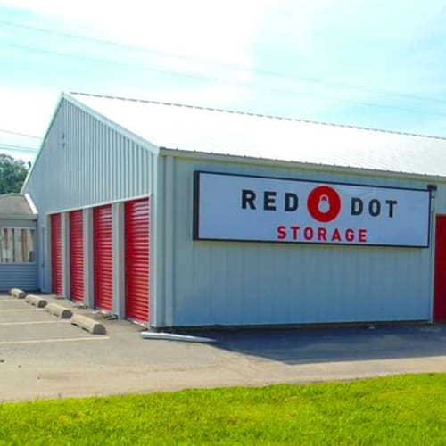 Outdoor storage units at Red Dot Storage in Ashland, Kentucky