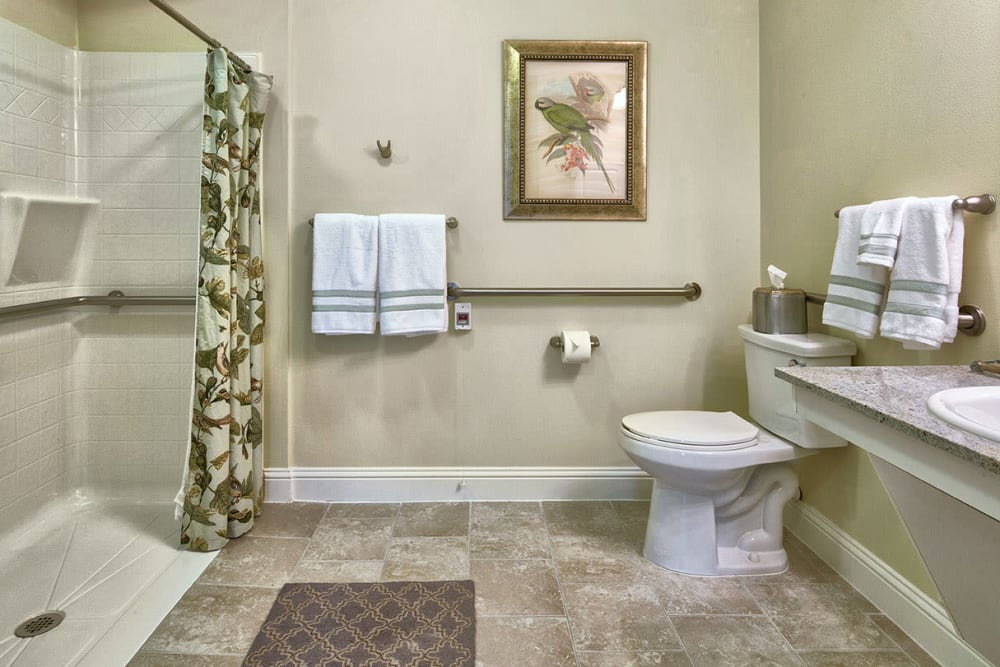 Bathroom of an apartment home at The Village of Meyerlandin Houston, Texas