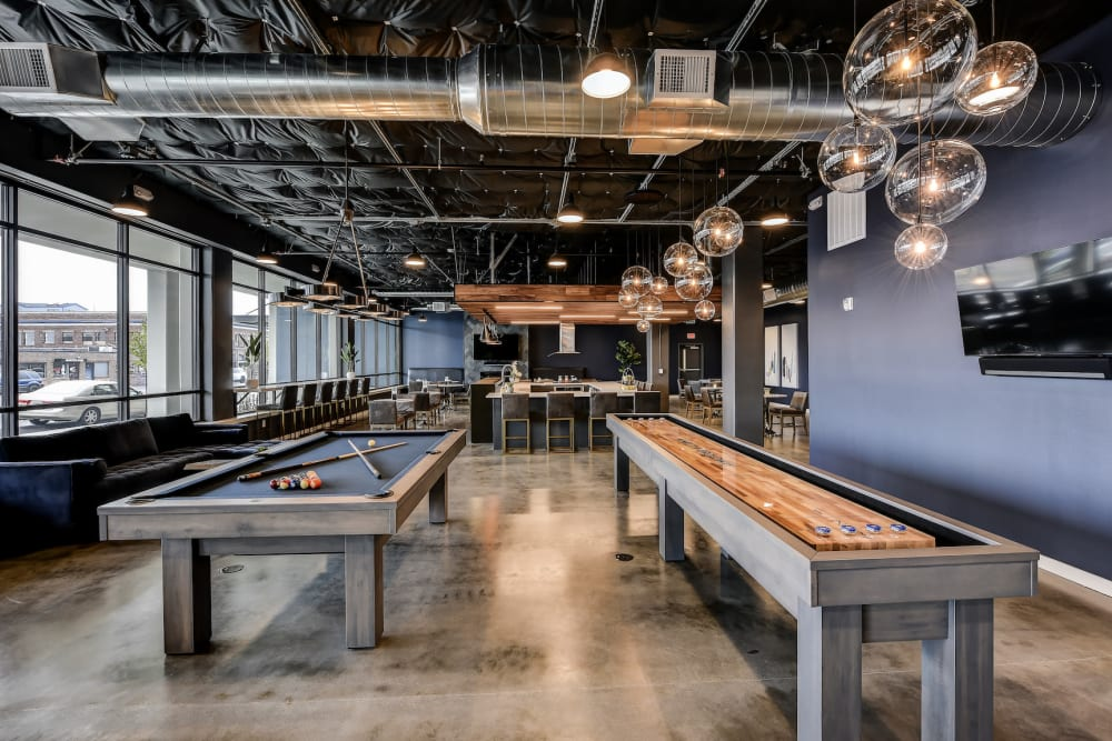 Clubhouse at Kinect @ Broadway in Everett, WA with a Pool Table & Shuffle Board