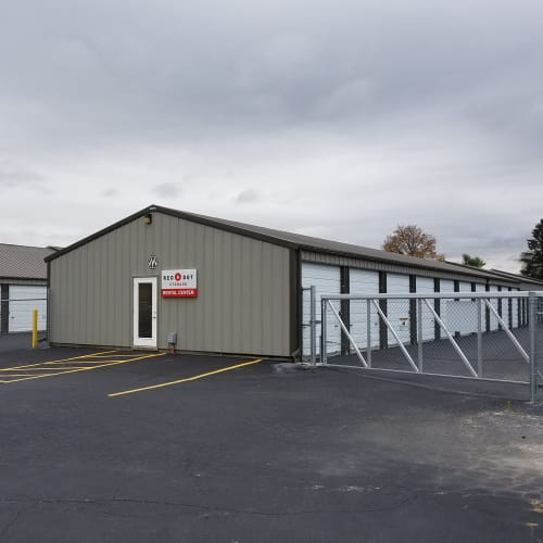 Rental center and outdoor storage units at Red Dot Storage in Cortland, Illinois