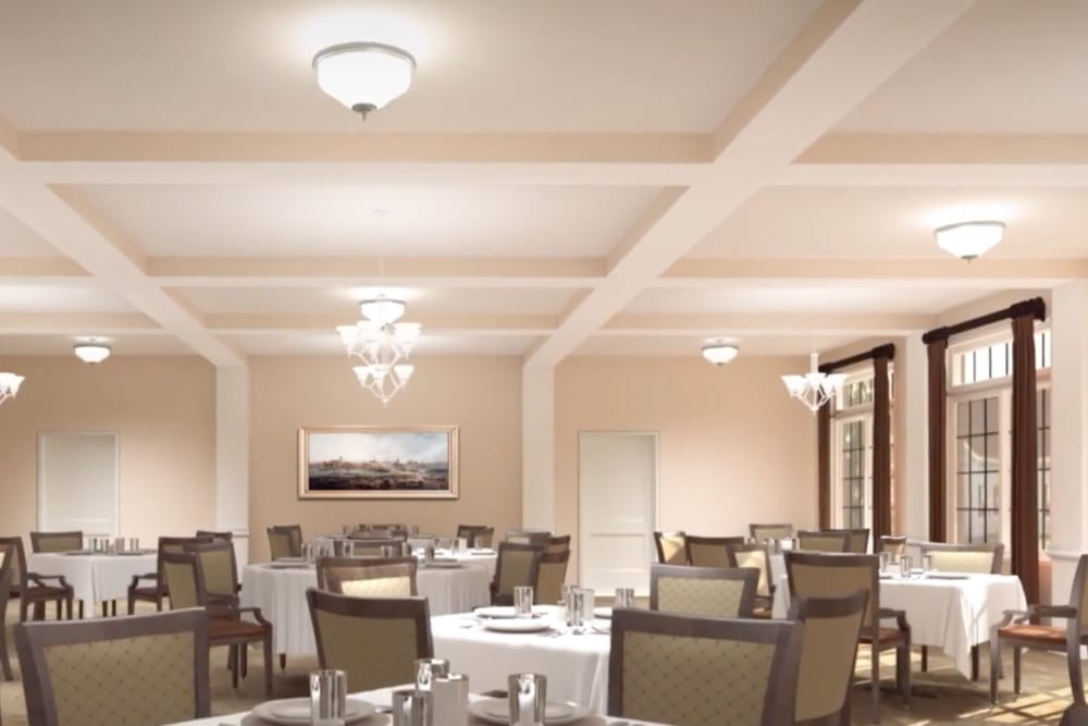 A rendering of the dining room at Harmony at Hope Mills in Fayetteville, North Carolina