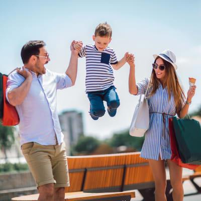 Family exploring Austin, Texas near Marquis at Treetops