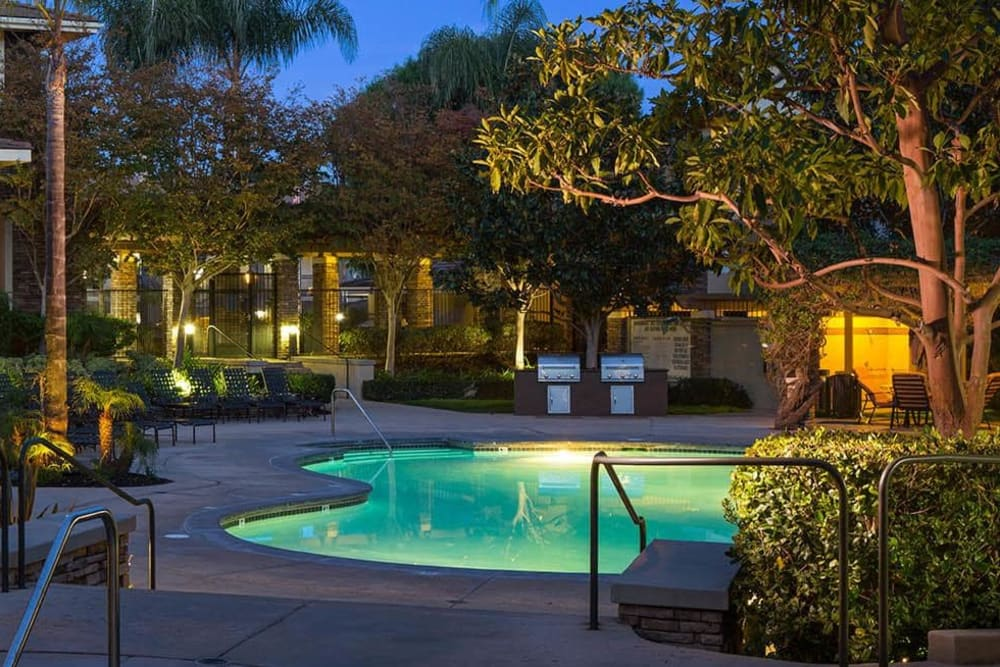 Beautiful swimming pool at dusk at Alize at Aliso Viejo Apartment Homes in Aliso Viejo, California