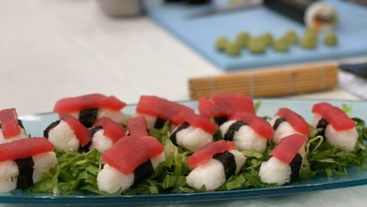 Sushi Displayed on a Tray