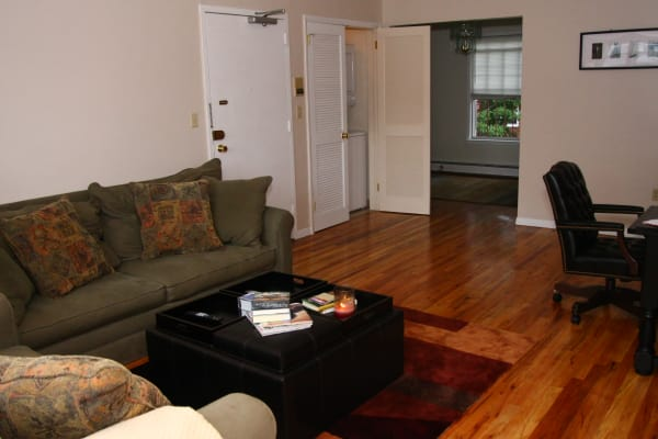 Living room model at Jackson House Apartments