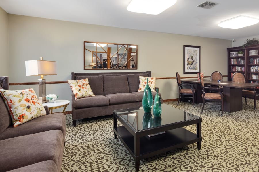 Comfortable seating for friends at Parkside of Livonia in Livonia, Michigan