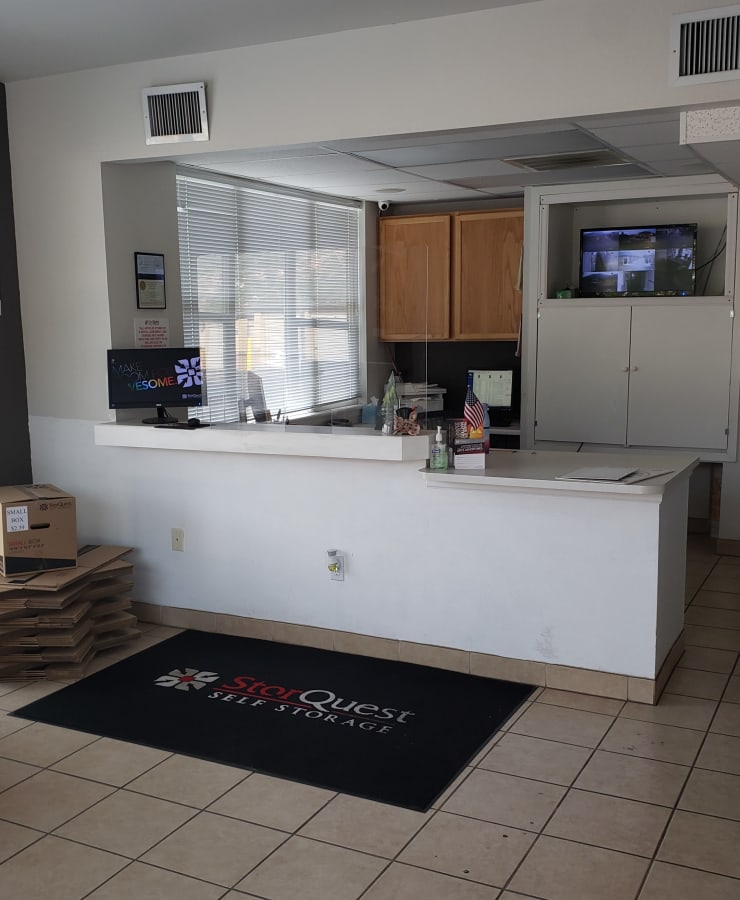 Interior of the leasing office at StorQuest Self Storage in Manitou Springs, Colorado