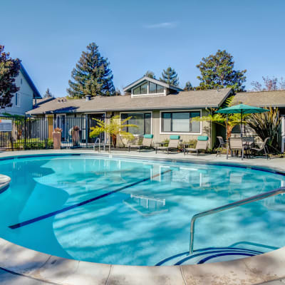 Serene swimming pool in the morning at Vue Fremont in Fremont, California