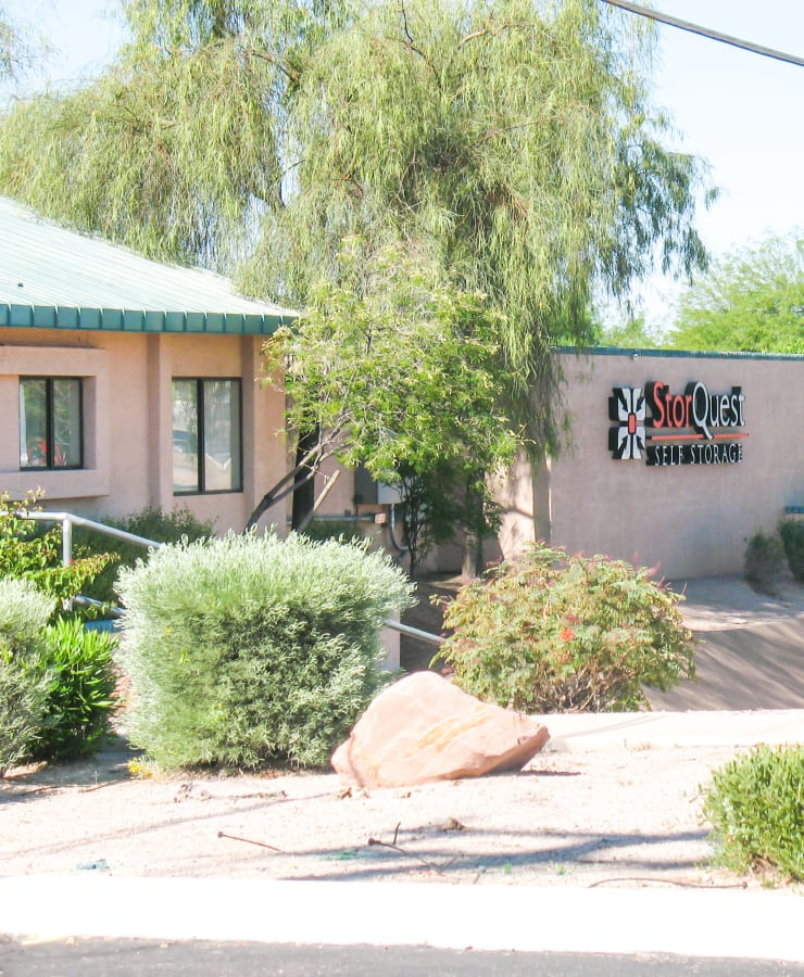 The exterior of the main entrance at StorQuest Self Storage in Apache Junction, Arizona
