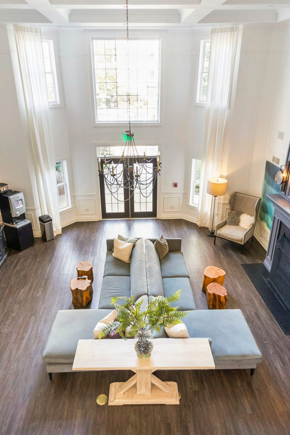 Spacious and modern open-concept floor plan in the clubhouse at Sofi at Salem Station in Salem, Massachusetts