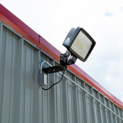 Bright exterior lighting at Red Dot Storage in Adel, Iowa