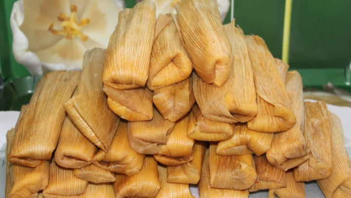 Giant stack of tamales from a Mexican restaurant near Olympus on Main in Carrollton, Texas