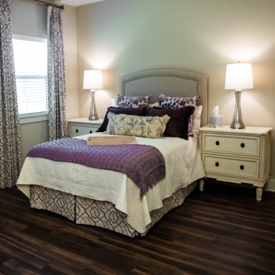 Light and airy resident bedroom at Westminster Memory Care in Lexington, South Carolina
