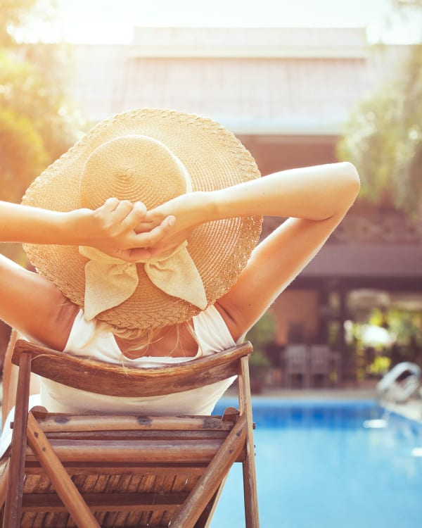 Woman by the pool at Preston View in Morrisville, North Carolina