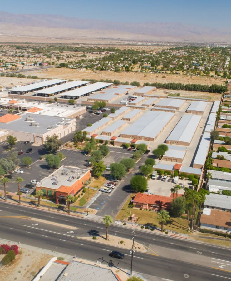 Aerial view of StorQuest Self Storage in Cathedral City, California