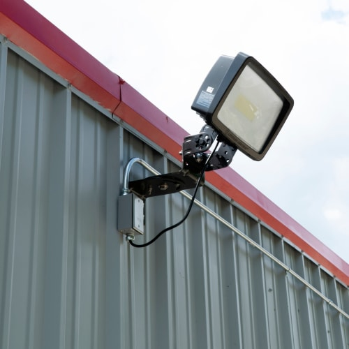 Bright exterior lighting at Red Dot Storage in New Lenox, Illinois