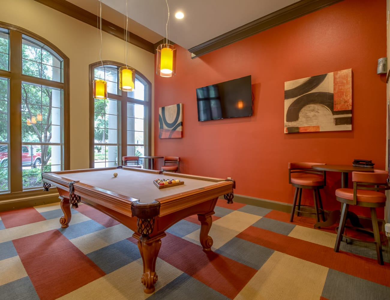 Resident clubhouse with billiards table and more at Alon at Castle Hills in San Antonio, Texas