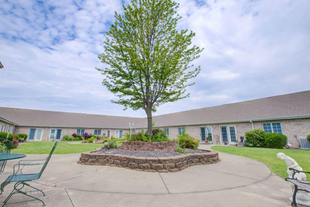 Sunny courtyard with large shady tree in the center at Brookstone Estates of Vandalia in Vandalia, Illinois