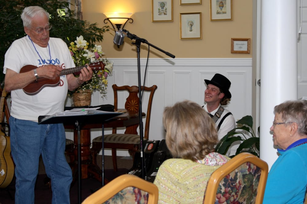 Keith performs for other residents