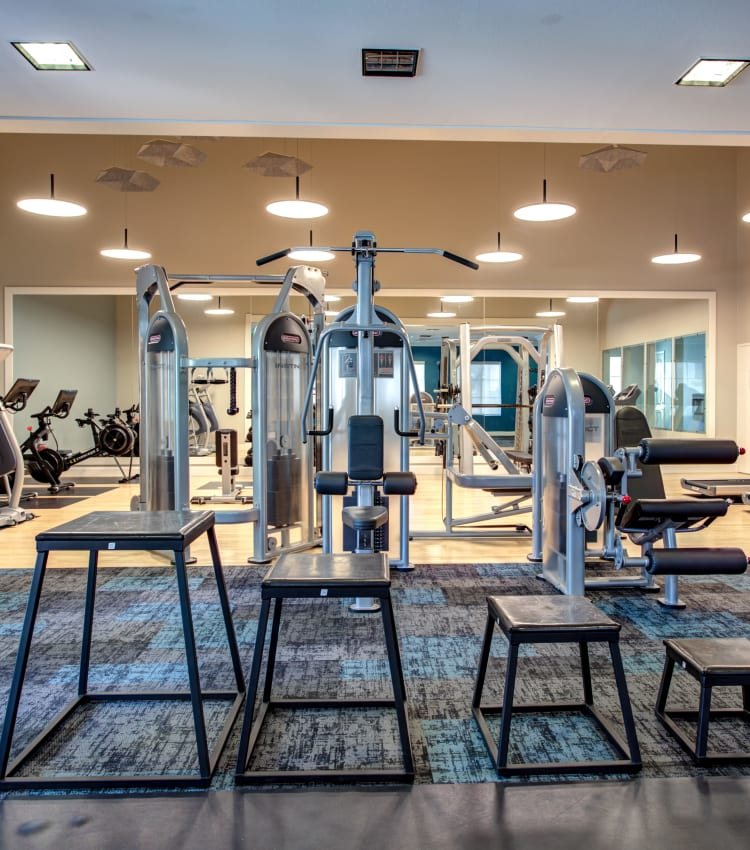 Well-equipped onsite fitness center at Sofi Westview in San Diego, California