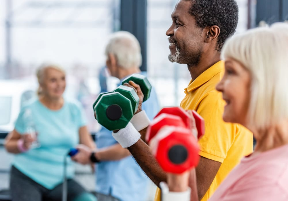Residents working out at Holden Southcenter in Tukwila, Washington.