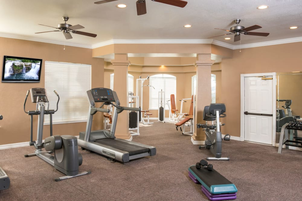 Fitness center at Crescent Cove at Lakepointe in Lewisville, Texas