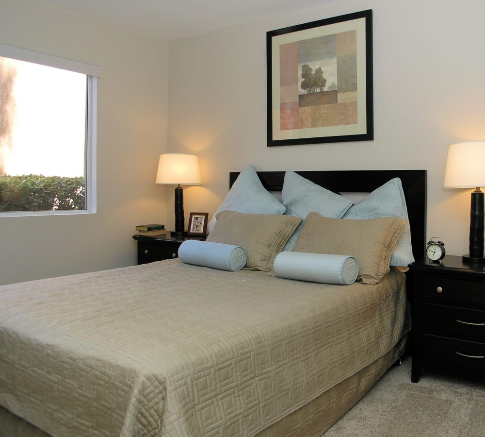 Master bedroom with plush carpeting at Shadow Ridge Apartment Homes in Simi Valley, California