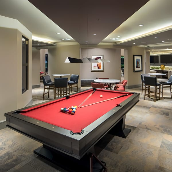 Billiards table and more in the game room at The Core Scottsdale in Scottsdale, Arizona