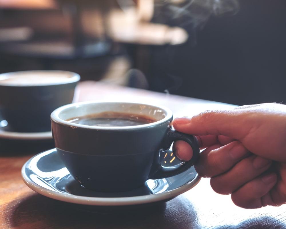 Hot coffee served at Landings of Minnetonka in Minnetonka, Minnesota.
